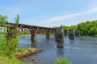 Historic Bridge on Kennebec River in downtown Augusta, Maine, USA.