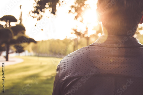 Photo  .sun light shining from his back.meditation and motivation concept