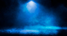 Blue Misty Dark Background. Da...