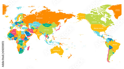 Fotografie, Obraz  World Map Color Detailed - Asia in Center