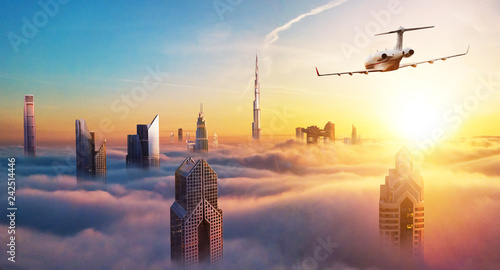 In de dag Zwavel geel Private jet plane flying above Dubai city
