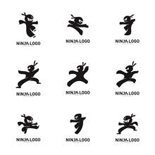 Set Of Ninja Warrior Logo Design Vector Template. Silhouette Of Japanese Fighter. - Vector