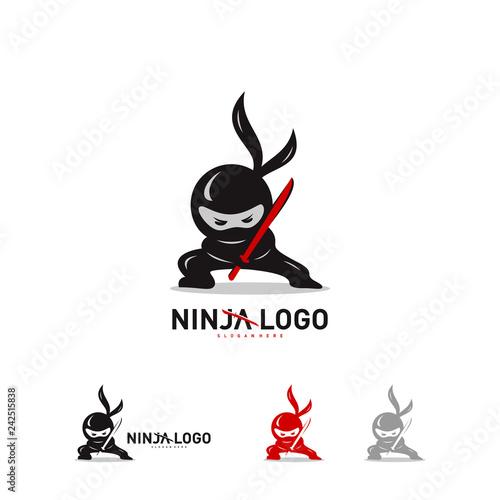 Ninja Warrior logo Design Vector Template Wallpaper Mural