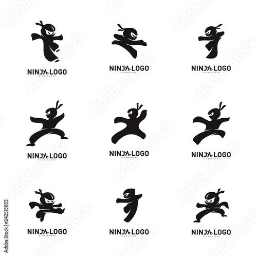 Set of Ninja Warrior logo Design Vector Template Canvas Print