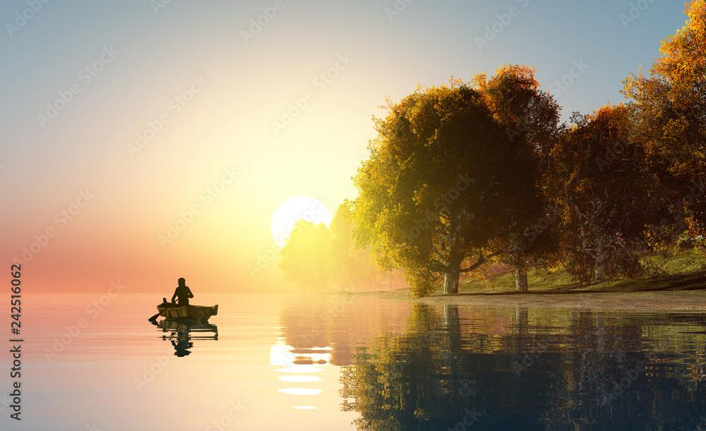 Fototapety, obrazy: Fisherman on the boat.