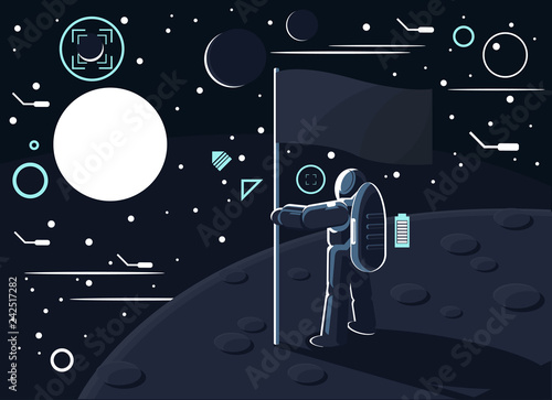 Photographie Vector illustration of an astronaut or cosmonaut in a special suit standing with