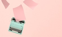 3D Render Illustration Of Flying  Vintageblue  Typewriter With Paper, Space For Text