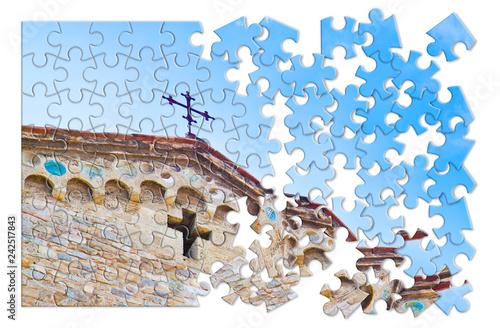 Fotografiet Christian cross of a medieval italian church -
