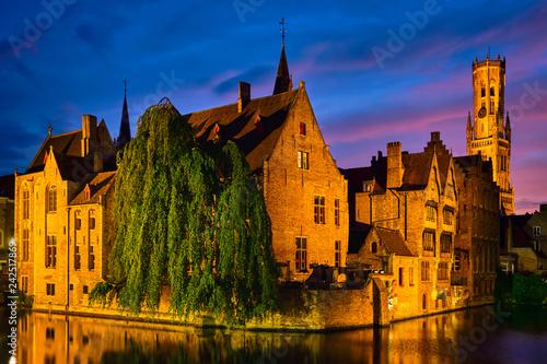 Wall Murals Bridges Famous view of Bruges, Belgium