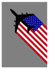 Plane USA American Flag Tail