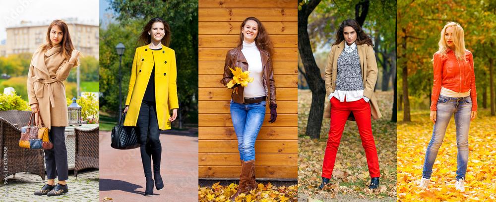 Fototapety, obrazy: Collage autumn street fashion women