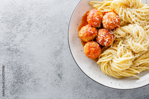 Spaghetti with tomato sauce and meatballs