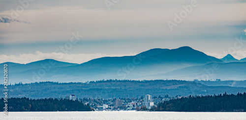 Port of Nanaimo, small city surrounded by forest and mountains of Vancouver Isla Canvas Print