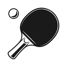 Racket For Ping Pong And Ball Vector Black Objects
