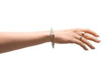 Female Hand With Stylish Jewelry On White Background