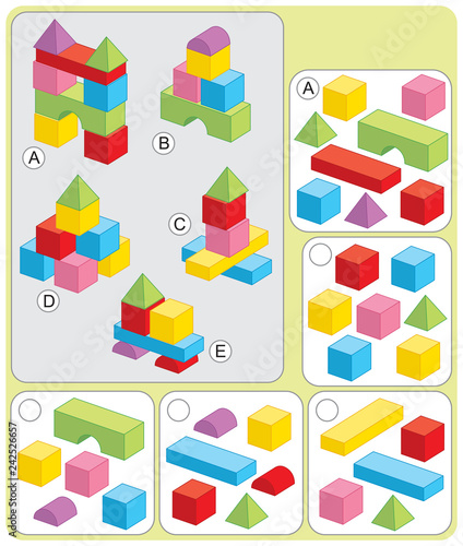Photo  Puzzle for preschool match blocks and building