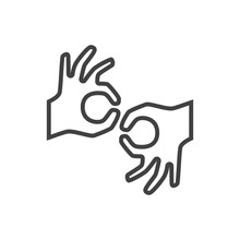 Isolated Sign Language Icon Line Symbol On Clean Background. Vector Gesture Element In Trendy Style.