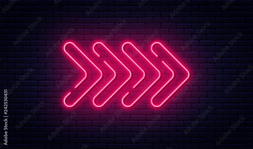 Fototapety, obrazy: Neon arrow sign. Glowing neon arrow pointer on brick wall background. Retro signboard with bright neon tubes