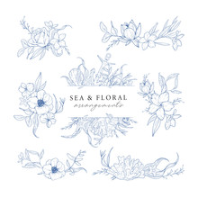 Hand Drawn Set Of Marine Compositions Isolated On White. Sea And Floral Arrangements. Vintage Elements For Invitations, Greeting Cards, Covers And Other Items. Vector.