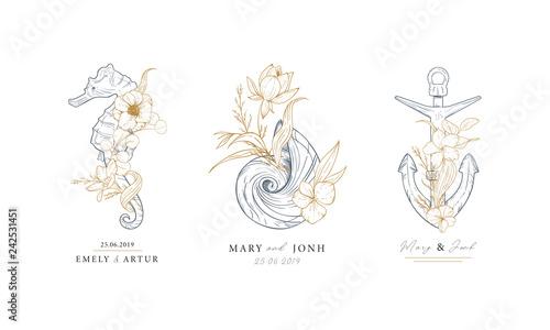 Stampa su Tela Set of nautical logos