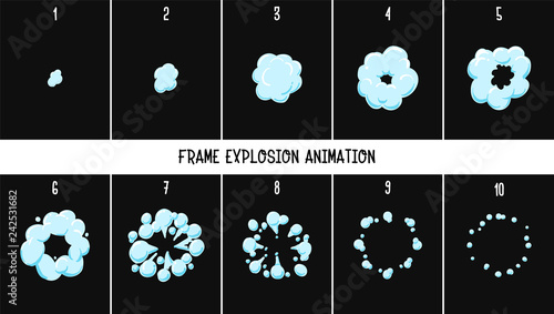 Obraz 2d classic Animation explosion. Animation of smoke. Sprite for games. - Vector - fototapety do salonu
