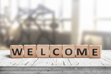 Welcome Sign On A Table In A Lobby