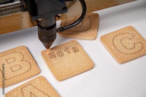 Valokuva  Industrial laser engraving number