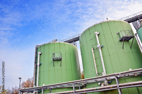 Photo Biogas tanks on a biogas plant