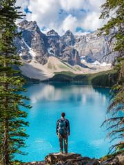 Hiker at Moraine Lake in Banff National Park, Alberta, Canada