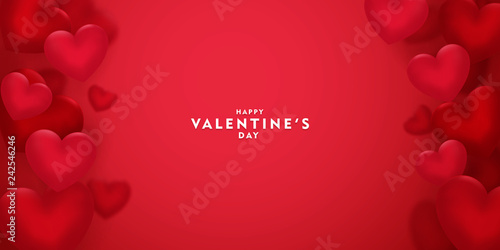 Photographie valentines day, 14th February, 3d red hearts blur efect design romantic love day