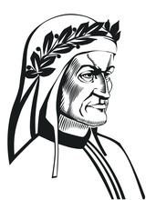 Dante Alighieri Vector Portrait. Illustration Of Italian Poet Of The Late Middle Ages.