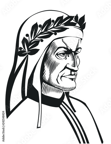 Fotografie, Obraz  Dante Alighieri vector portrait