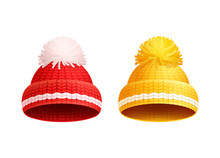 Knitted Red Yellow Hat With Pom-Pom Vector Icon