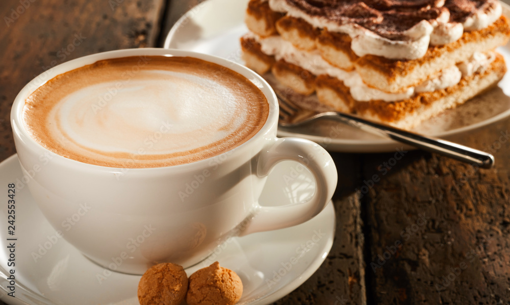 Fototapety, obrazy: White ceramic cup of coffee with dessert