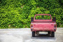 Rustic Red Pickup Parked Alone...