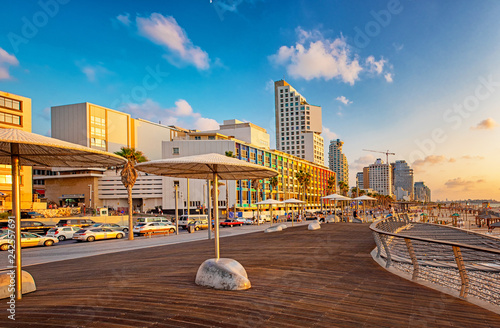 View on the beach in Tel Aviv with some of its iconic hotels