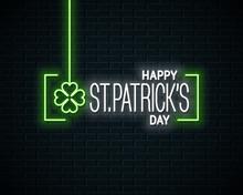 Patrick Day Neon Banner. Neon Sign Of Patricks Day