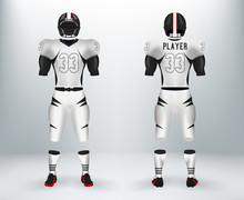3D Realistic Of Font And Back Of Black And White American Rugby Football Jersey Uniforms Sets. Concept For American Football Apparel Mock Up For Collage Championships In Vector Illustration
