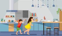 Happy Children Playing On Kitc...