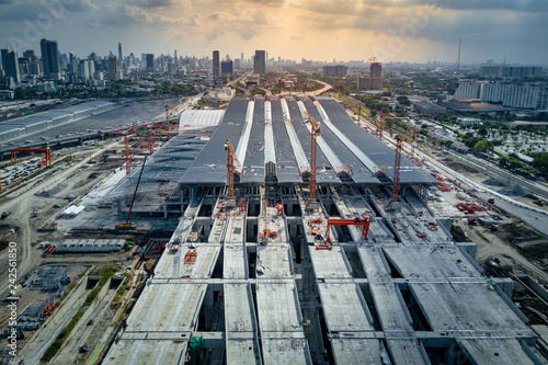 Foto auf Leinwand Bahnhof Aerial view of Bang Sue central station, the new railway hub transportation building under construction in Bangkok, Thailand.