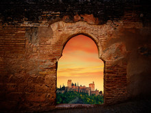 Alhambra Sunset Arch Granada Illustration