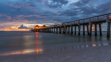 Sunset Panorama At Famous Naples Pier, Florida