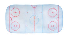 Frosty Ice Hockey Rink Watercolour With Lines, Marks, Circles, Zones And Positions. Top View. Handdrawn Water Colour Artistic Painting On White Backdrop, Cutout Element For Posters, Wallpapers, Etc.