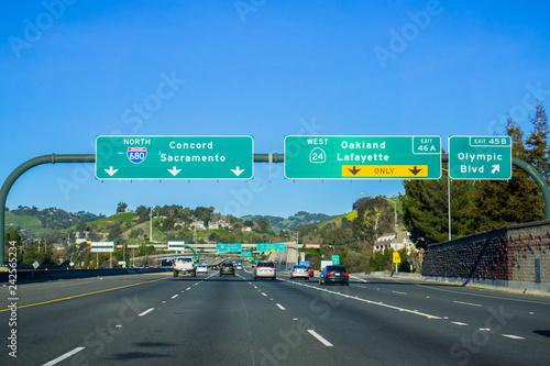 Fotografiet Freeway Interchange sign in east San Francisco bay, California