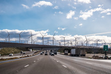 Driving On The Interstate Towards Palm Springs; Wind Turbines Installed At The Entrance To Coachella Valley; Los Angeles County; Riverside County; South California