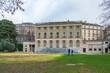 Outdoor scenery of Bastions Park and background of exterior Eynard Palace, the first palace in Geneva, recent Administrative Council and city government office.