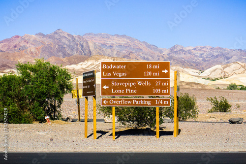Posted road directions and distances close to the Furnace Creek Visitor Center; Canvas Print
