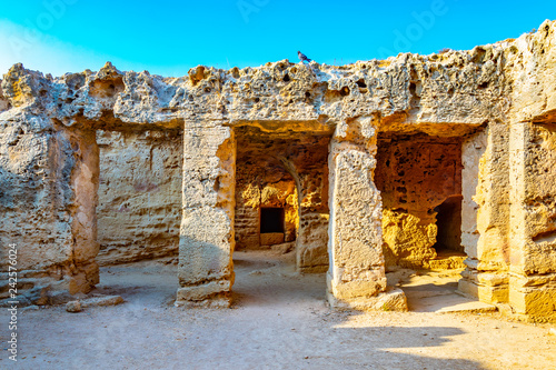 Interior of tombs of the kings necropolis on Paphos, Cyprus Canvas Print