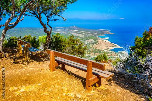 Garden Poster Cyprus Bench overlooking Akamas peninsula on Cyprus