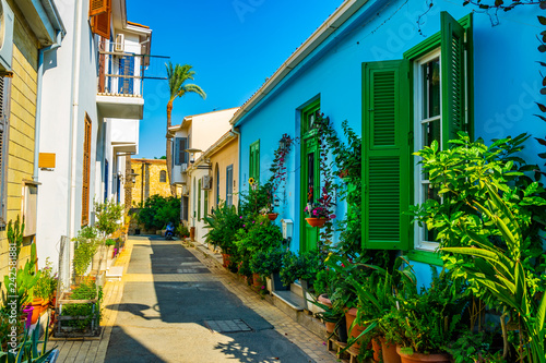 Photo sur Aluminium Chypre narrow street in the residential area of Nicosia, Cyprus